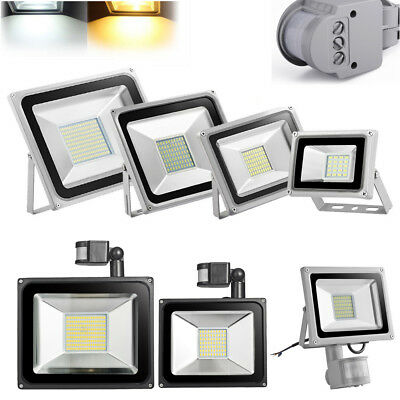 100W 50W 30W 20W 10W LED Flood Light Outdoor PIR Motion Sensor Lamp US Plug 110V