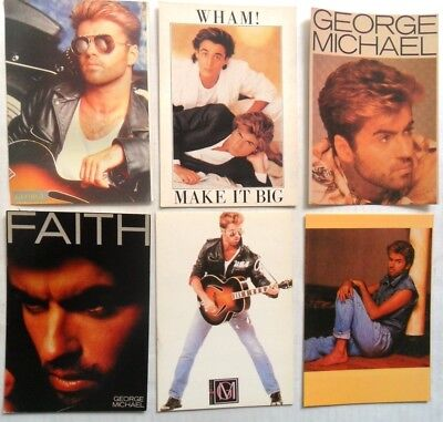 GEORGE MICHAEL AND WHAM POSTCARDS 6 x Vintage George Michael Postcards