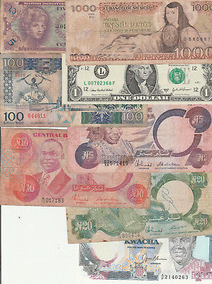 Mix of circulated notes x 9