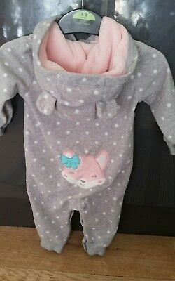 Carter's  Baby Girl Fleece Romper Babygrow Playsuit All In One 3 - 6 months