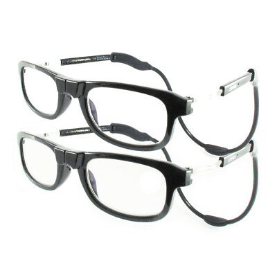 Loopies Magnetic Reading Glasses TWIN-PACK Black Rrp £79.99 Case & Cloth