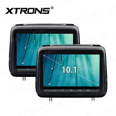 "Pair 2x 10.1"" HD LCD Car DVD Monitor Player Headrest Pillow+Cover USB/SD Game"