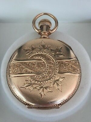 Solid 14ct Gold Full Hunter Ladies Pocket or Fob Watch with Engraved Design