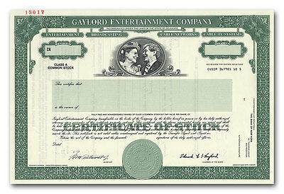 Gaylord Entertainment Company Stock Certificate - Minnie Pearl