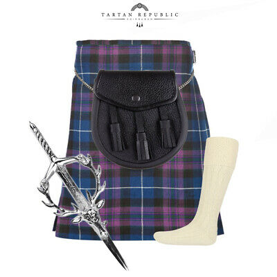 4 Piece Kilt Package With Pin Hose And Sporran - Sizes 30-44 - Pride Of Scotland