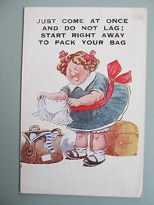 "1954 Comic postcard ""Just come at once"" - used"