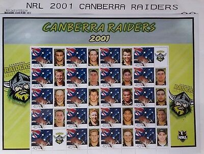 Footy Stamps Canberra Raiders 2001 NRL Stamps Sheet