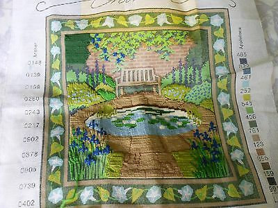RARE EHRMAN TAPESTRY KIT LILY POND partly completed with wools