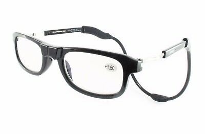 Black Stylish Loopies Magnetic Reading Glasses UVA Protection Scratch Resistant