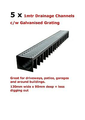 5 x Drain Channel Drainage 1m Long Galvanised Shallow TL100 Drives, Patios etc