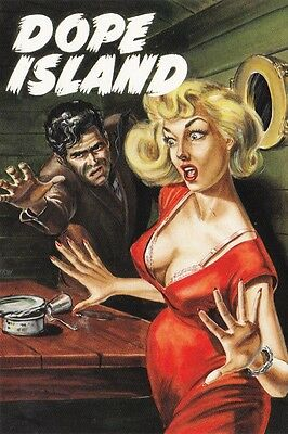 AUSTRALIAN ADVERTISING POSTCARD Pulp Confidential DOPE ISLAND State Library NSW