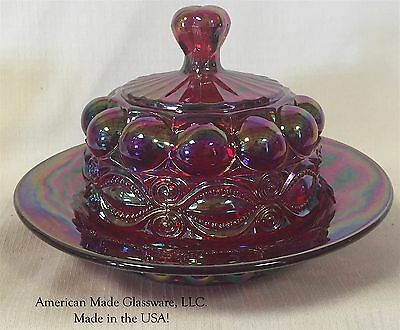 Red Carnival Glass Eyewinker Pattern Round Covered Butterdish - Mosser