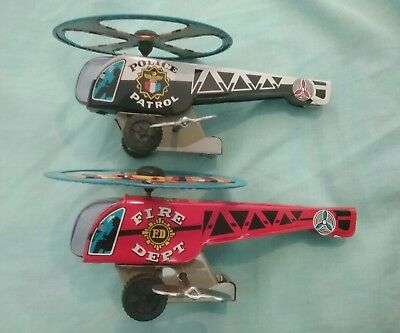 Police & Fire Department Wind Up Helicopters Made in Japan