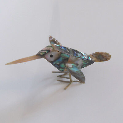 VINTAGE MOTHER of PEARL & ABALONE PAUA SHELL DESIGNED LITTLE BIRD