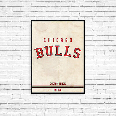 Chicago Bulls NBA Basketball A3 Picture Art Poster Retro Vintage Style Print
