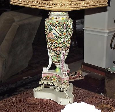 Large Antique 19Th C Crown N Capodimonte Lamp