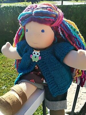 "Bamboletta Sitting Friend 15"" Waldorf Doll OOAK ""Rainbow"""