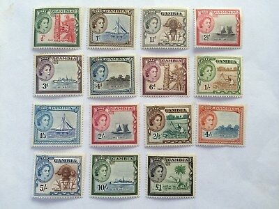Stamps - Gambia 1953 Queen Elizabeth set from  1/2d - £1 (15 stamps in total)