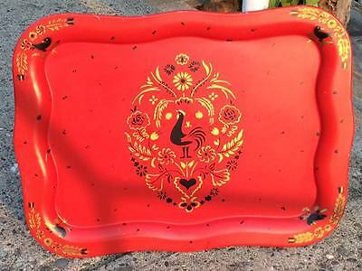 Vintage Social Supper Red Rooster Serving Tray