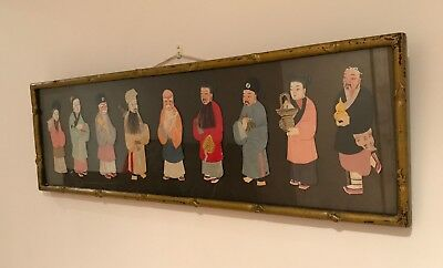 Rare Japanese textile / fabric picture of 9 Japanese characters