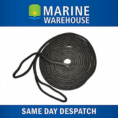 Mooring Rope Kit – 10mm X 6M Black Double Braid Dock Line With Loops 106338