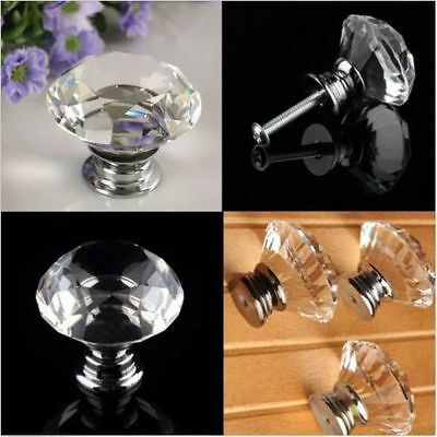 30mm Diamond Clear Crystal Glass Door Pull Drawer Knob Handle Cabinet New IB