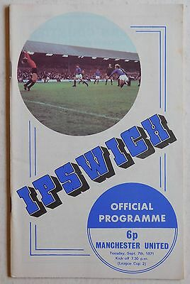 IPSWICH TOWN  Vs MANCHESTER UNITED - 7 September 1971 - League Cup Round 2