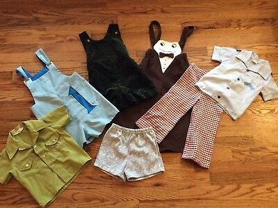 7 Piece Lot Vintage mid century toddler Boy Clothes bottoms rompers shirts 2-4t