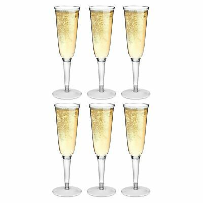 Plastic Outdoor Champagne Flutes. Strong Dining Drinking Cups Glasses - x6