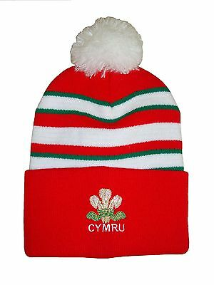 Wales Rugby Bobble Hat  - Red Stripe - Made in the UK