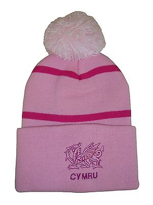 Wales Rugby Bobble Hat  - Pink Stripe - Made in the UK