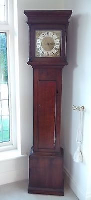 Brass Face Grandfather Longcase Clock 18th Century Oak Case Single Finger