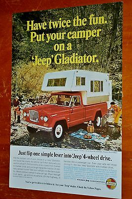 Cool 1966 Jeep Gladiator With Camper 4X4 Ad - Retro 60S American Vintage