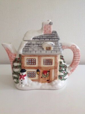 The Village Teapot Collectables Winter Cottage Hand Painted Ceramic