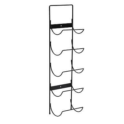 5 Bottle Wall Mounted Black Metal Wine Rack Storage Holder