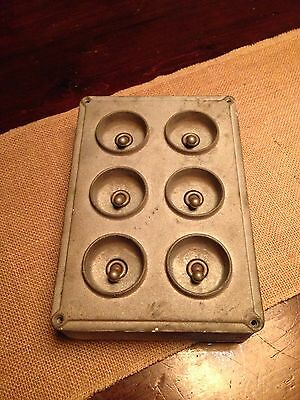 Vintage Industrial Crabtree 6 Gang Cast Iron Light Switch With Brass Toggle