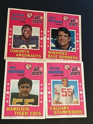 A 1971 O-Pee-Chee CFL Football ALL-STAR Poster Inserts x4 Canadian League OPC