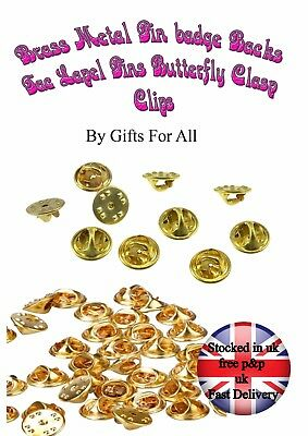 10 20 50 brass Metal Replacement Pin badge Backs With Butterfly Clasp Fitting