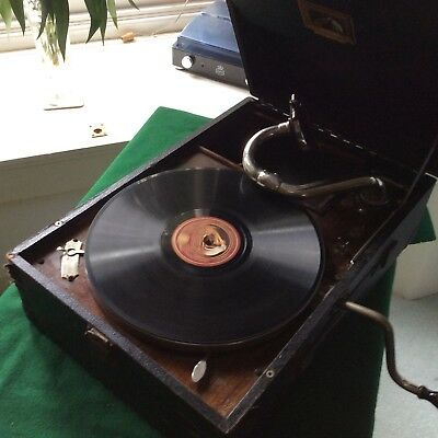 HMV His Masters Voice Portable Wind up Gramophone  -  good sound