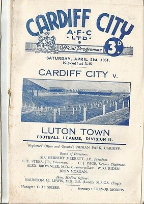 CARDIFF CITY v LUTON TOWN  1950/51