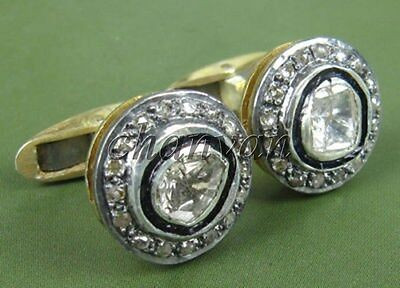 Vintage INS Handmade Rose Cut/Polky Diamond 92.5% Silver Cufflink Men @Jewelry64
