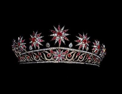 Princess Antique INSP 11.20Ct Rose Cut Diamond 92.5% Silver Tiara Crown @CSJ
