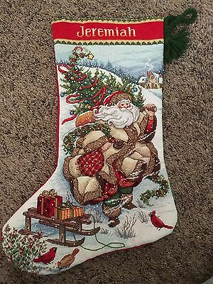 Nearly Finished Completed Dimensions Gold Cross Stitched Christmas Stocking