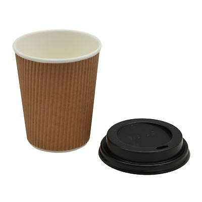 Disposable Coffee Tea Hot Drinks Ripple Paper Brown Cup & Black Lid - 8oz - x20