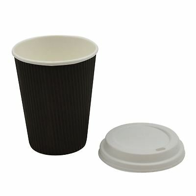Disposable Coffee Tea Hot Drinks Ripple Paper Black Cup & White Lid - 12oz - x20
