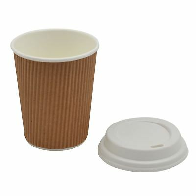 Disposable Coffee Tea Hot Drinks Ripple Paper Brown Cup & White Lid - 8oz - x100