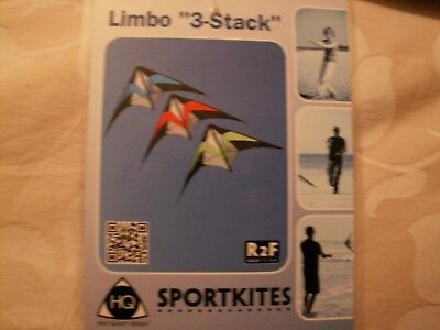 HQ Limbo Triple Stacker Sport kites Set Of Three New In Case With Flying Lines