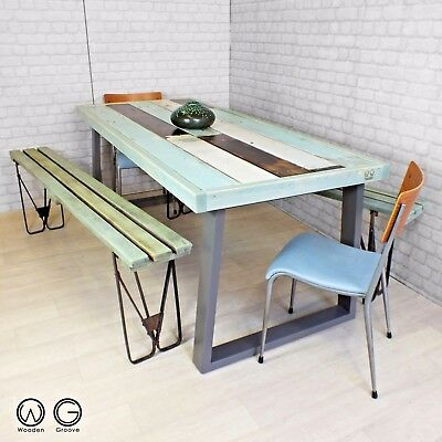 Unique vintage industrial reclaimed timber salvaged painted dining table one off