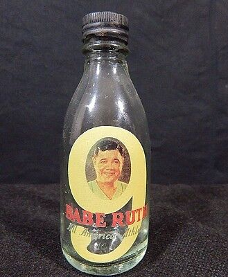 Babe Ruth All America Athlete Mini Glass Bottle Antique Vintage Very Rare
