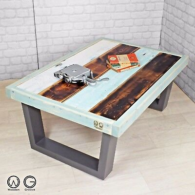 Unique vintage industrial reclaimed timber salvaged painted coffee table one off